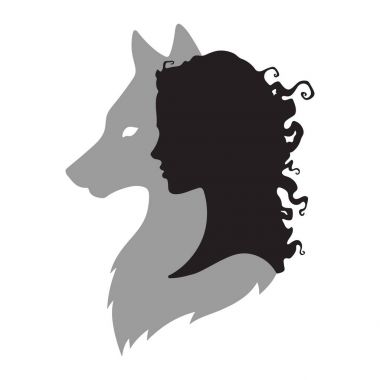 Silhouette of beautiful woman with shadow of wolf isolated. Sticker, print or tattoo design vector illustration. Pagan totem, wiccan familiar spirit art