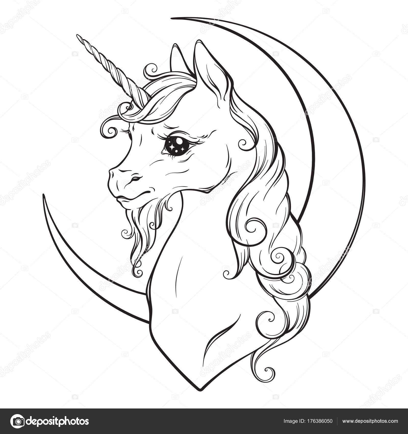 unicorn en halve maan ge 239 soleerde vectorillustratie
