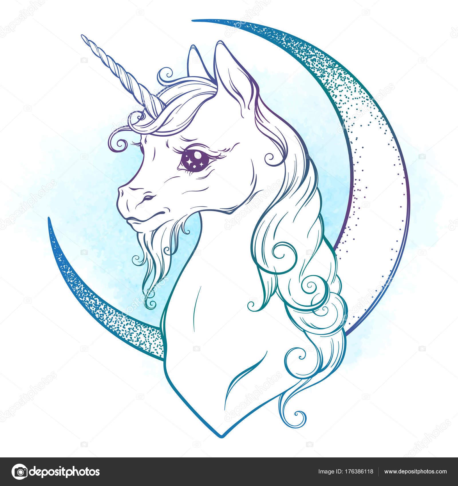 Illustrazione Falce Da Colorare E Stampare Piccolo Unicorno E
