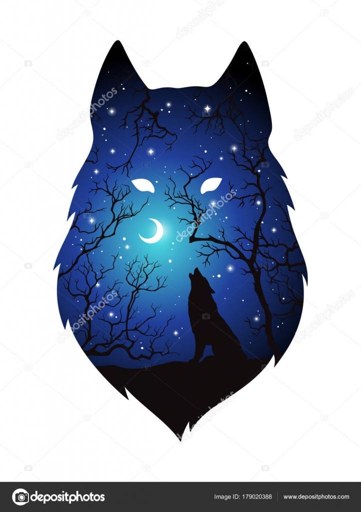 Silhouette De Double Exposition Du Loup Dans Le Ciel De Foret Bleu