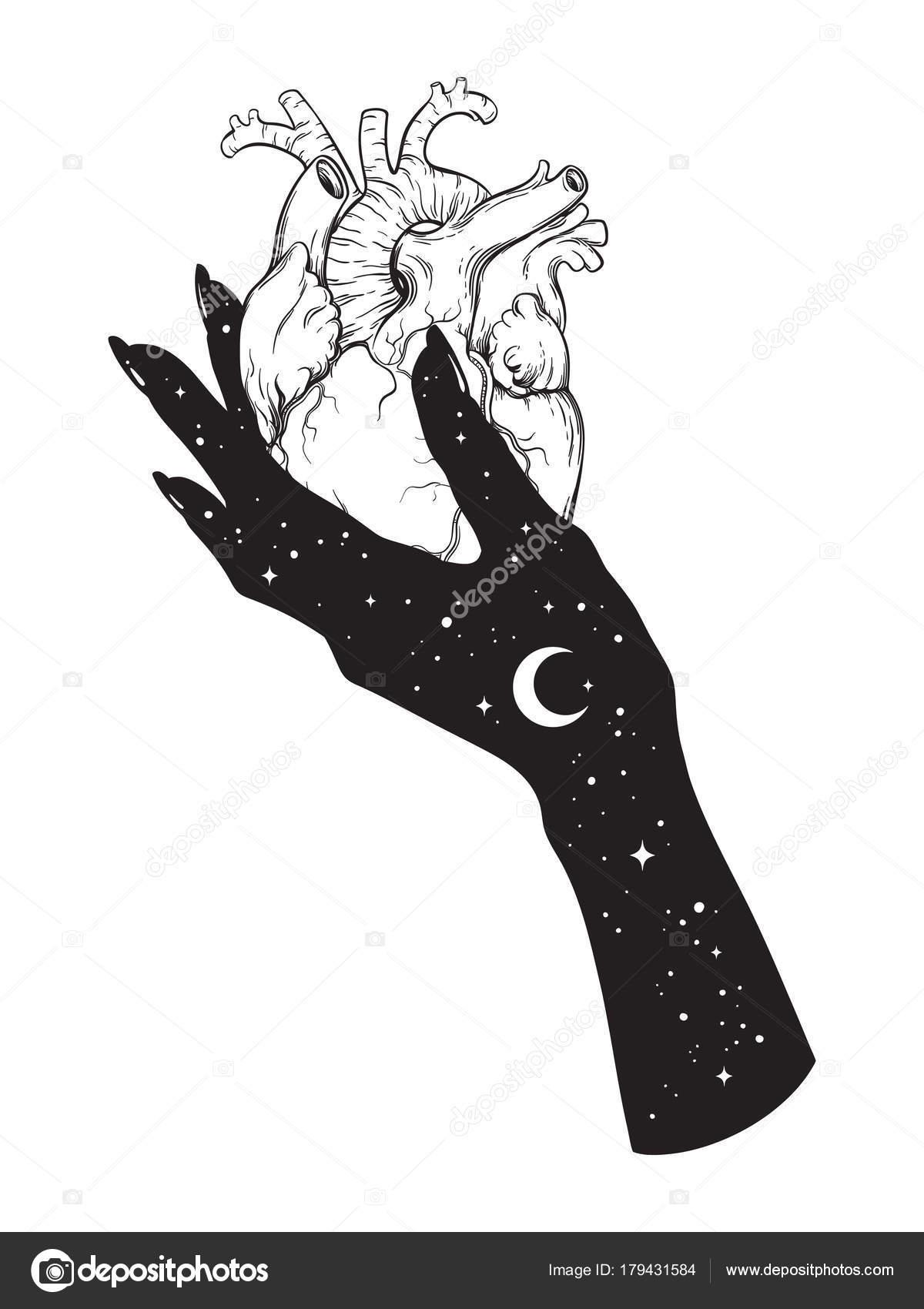 Corazón humano en mano del universo. Ilustración de vector de ...