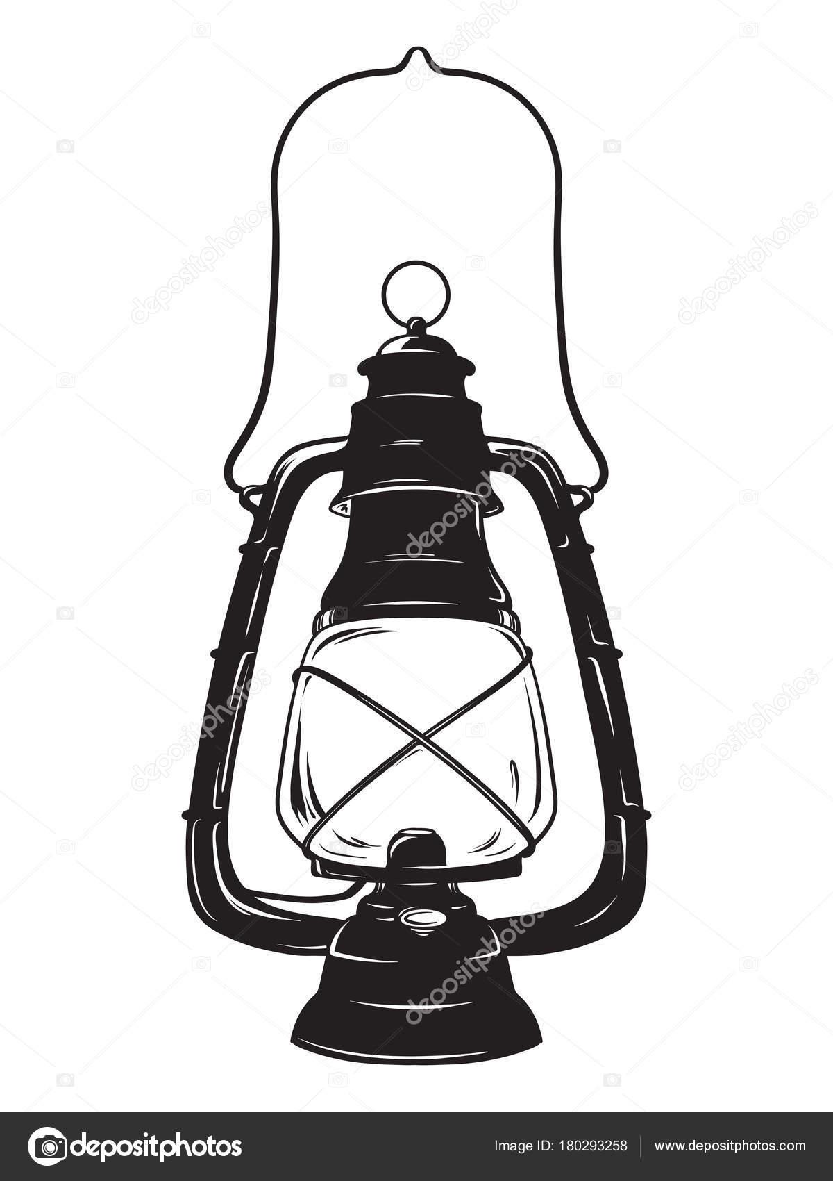 Hand-drawn grunge sketch vintage oil lantern or kerosene lamp ... for Oil Lamp Sketch  588gtk