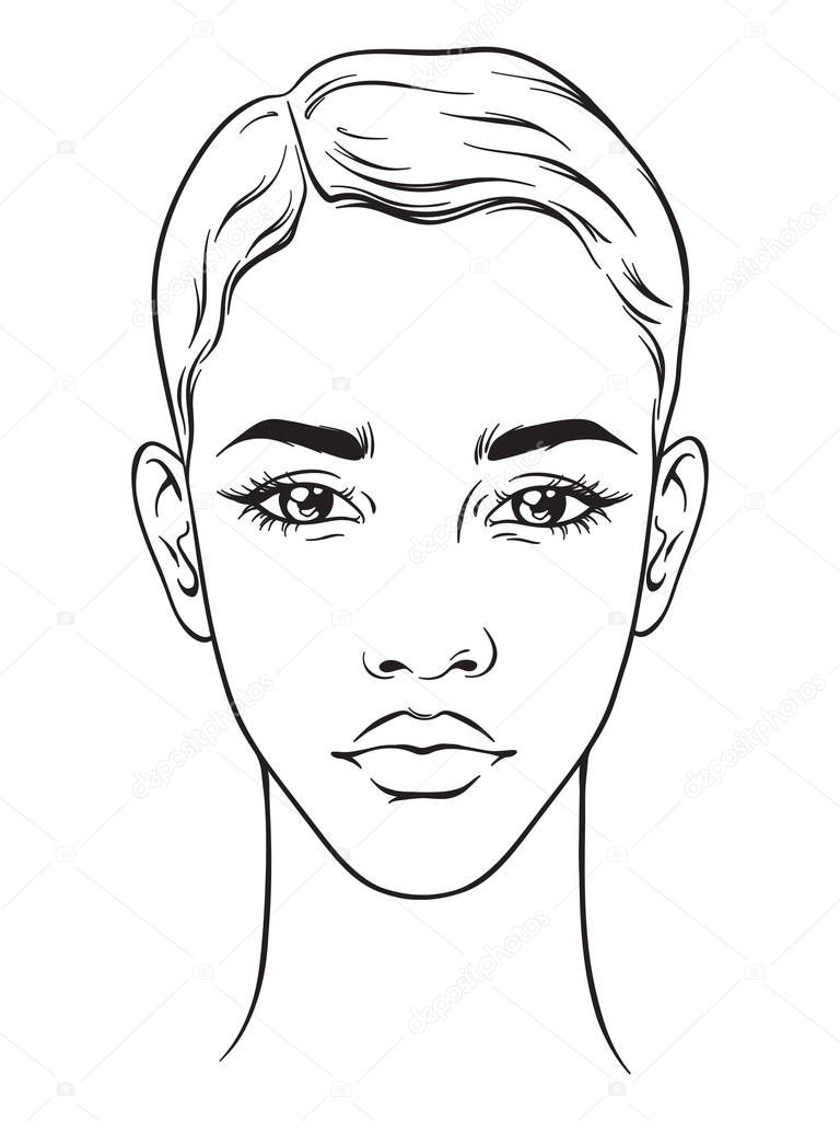 beautiful african american woman with short haircut