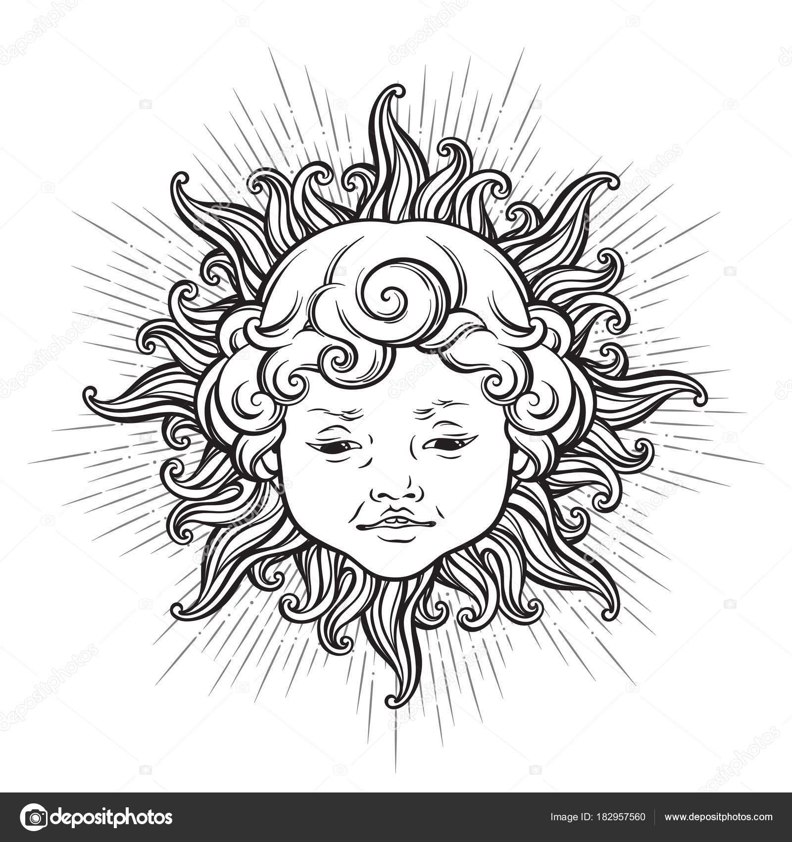 Vettore Viso Sorridente Da Colorare Sole Con Volto Di Ragazzo
