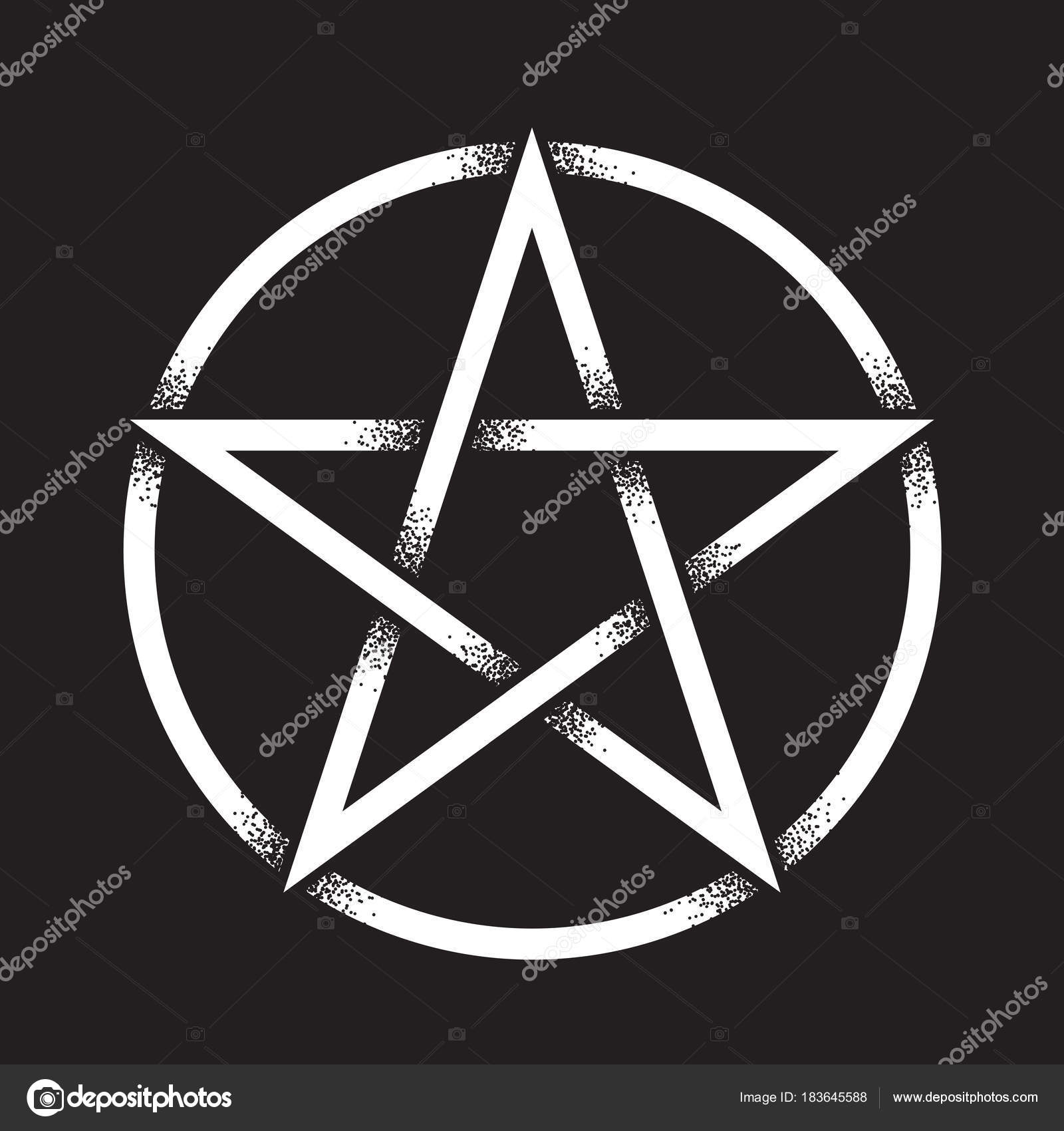 Pentagram Or Pentalpha Or Pentangle Hand Drawn Dot Work Ancient