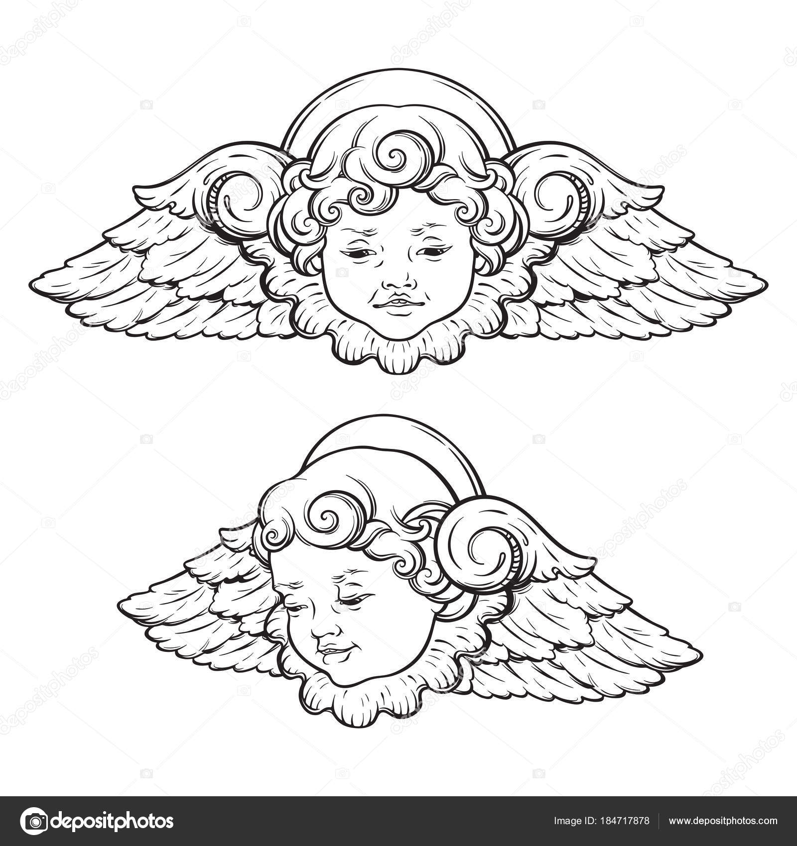 Cherub Cute Winged Curly Smiling Baby Boy Angel Set Isolated Over
