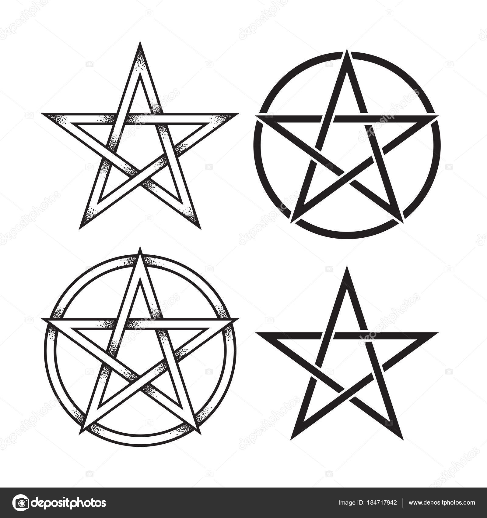 Set of pentagram or pentalpha or pentangle hand drawn dot work set of pentagram or pentalpha or pentangle hand drawn dot work ancient pagan symbol of buycottarizona Image collections