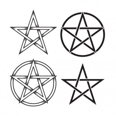 Set of pentagram or pentalpha or pentangle. Hand drawn dot work ancient pagan symbol of five-pointed star isolated vector illustration. Black work, flash tattoo or print design