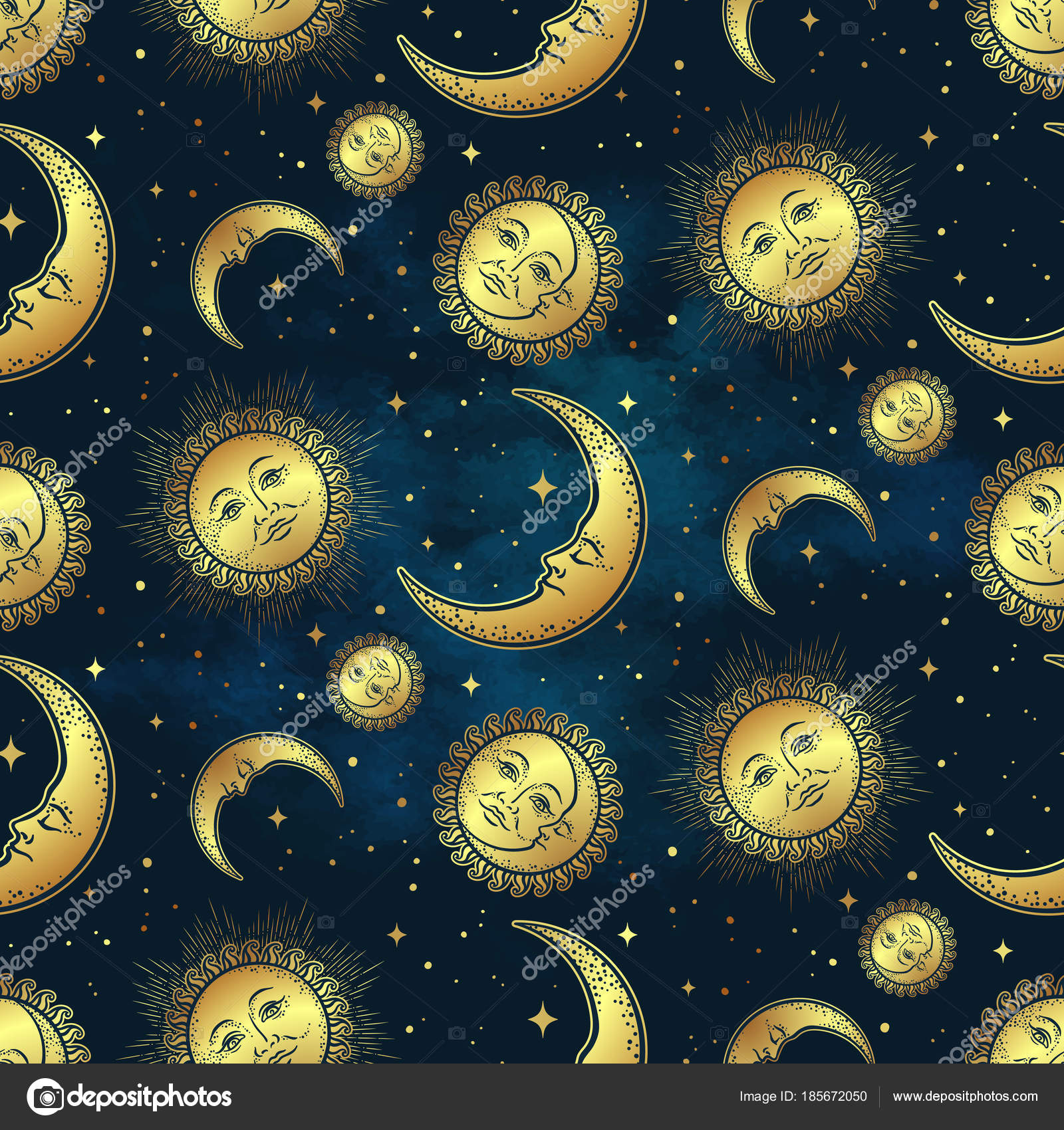 Seamless pattern with gold celestial bodies   moon, sun and stars over blue  night sky background. Boho chic fabric print, wrapping paper or textile ...