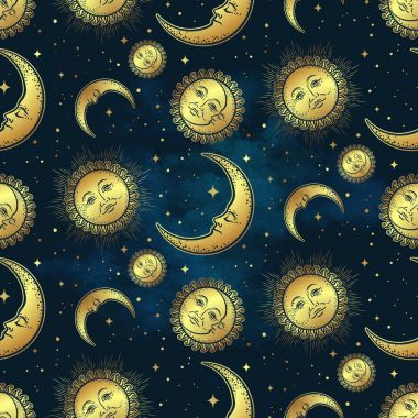 Seamless pattern with gold celestial bodies - moon, sun and stars over blue night sky background. Boho chic fabric print, wrapping paper or textile design hand drawn vector illustration.