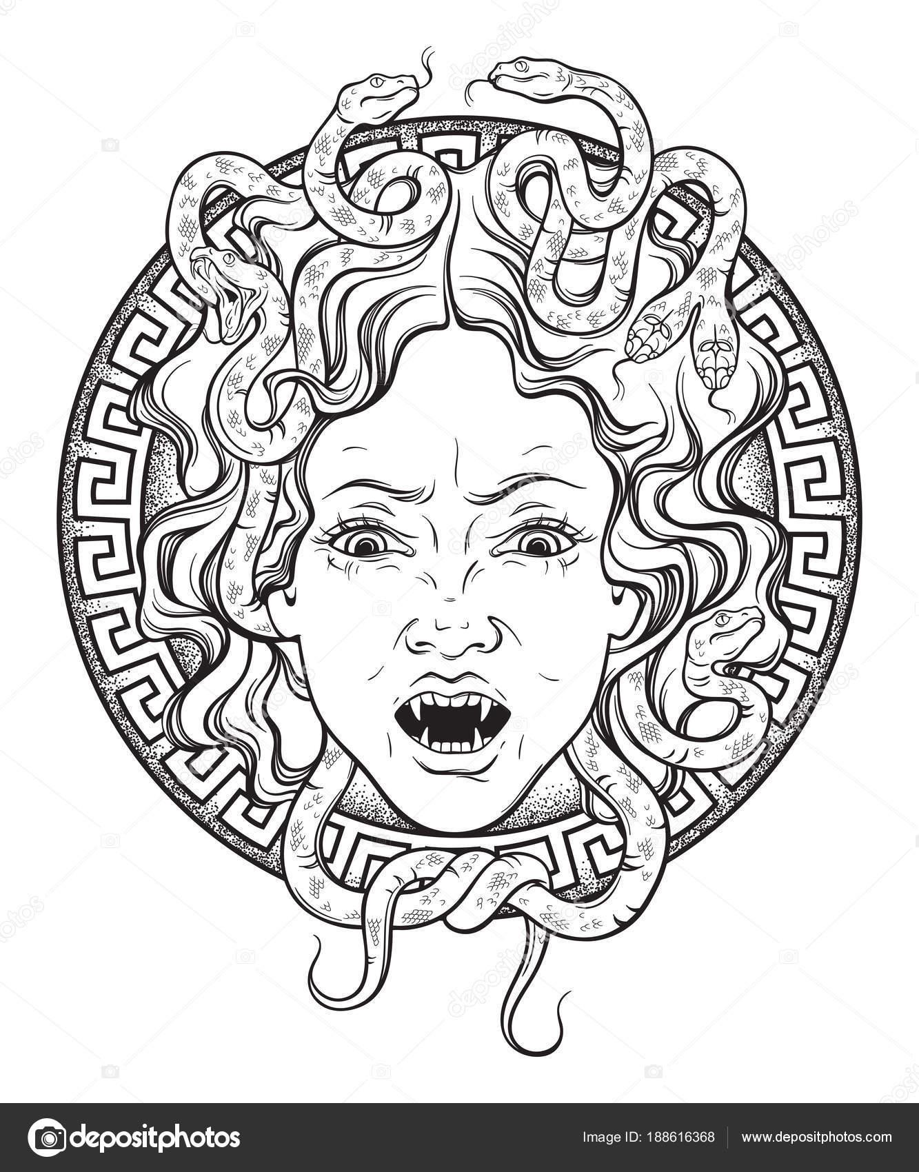 Tête de la gorgone Méduse sur un bouclier ligne tracée art ...