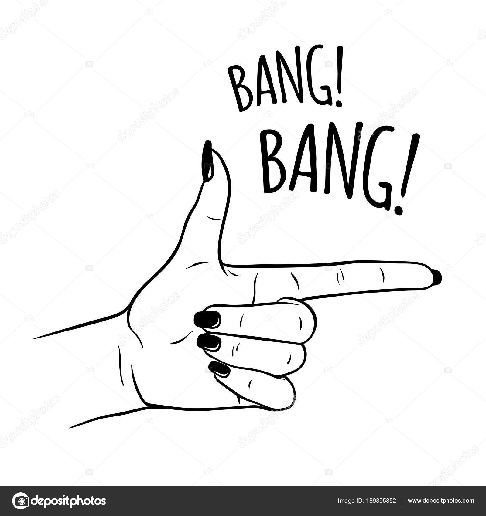 mão desenhada mão feminina em gesto de arma flash do tatuagem