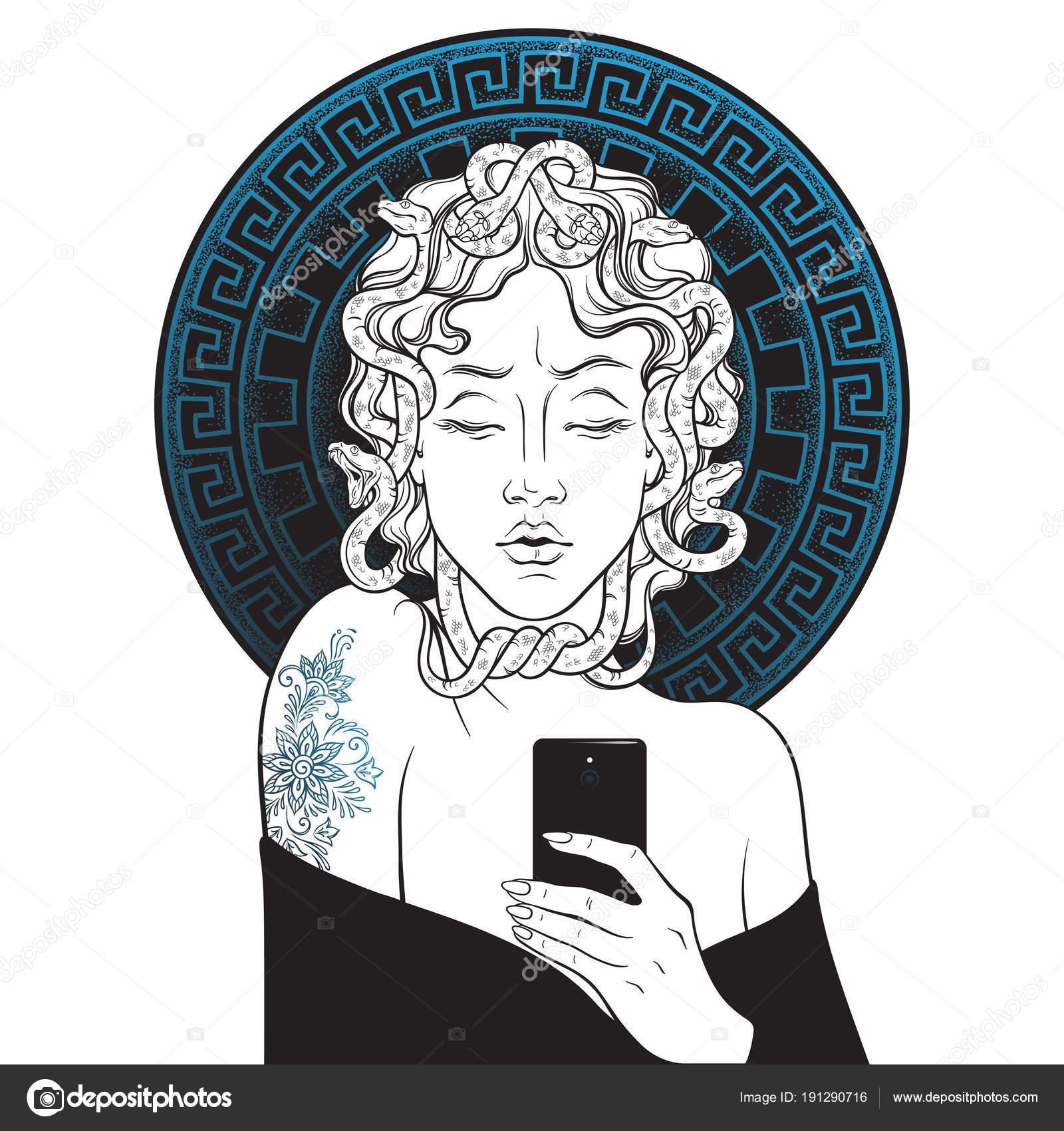 Point Et La Gorgone Méduse Selfie Dessinés à La Main Line Art