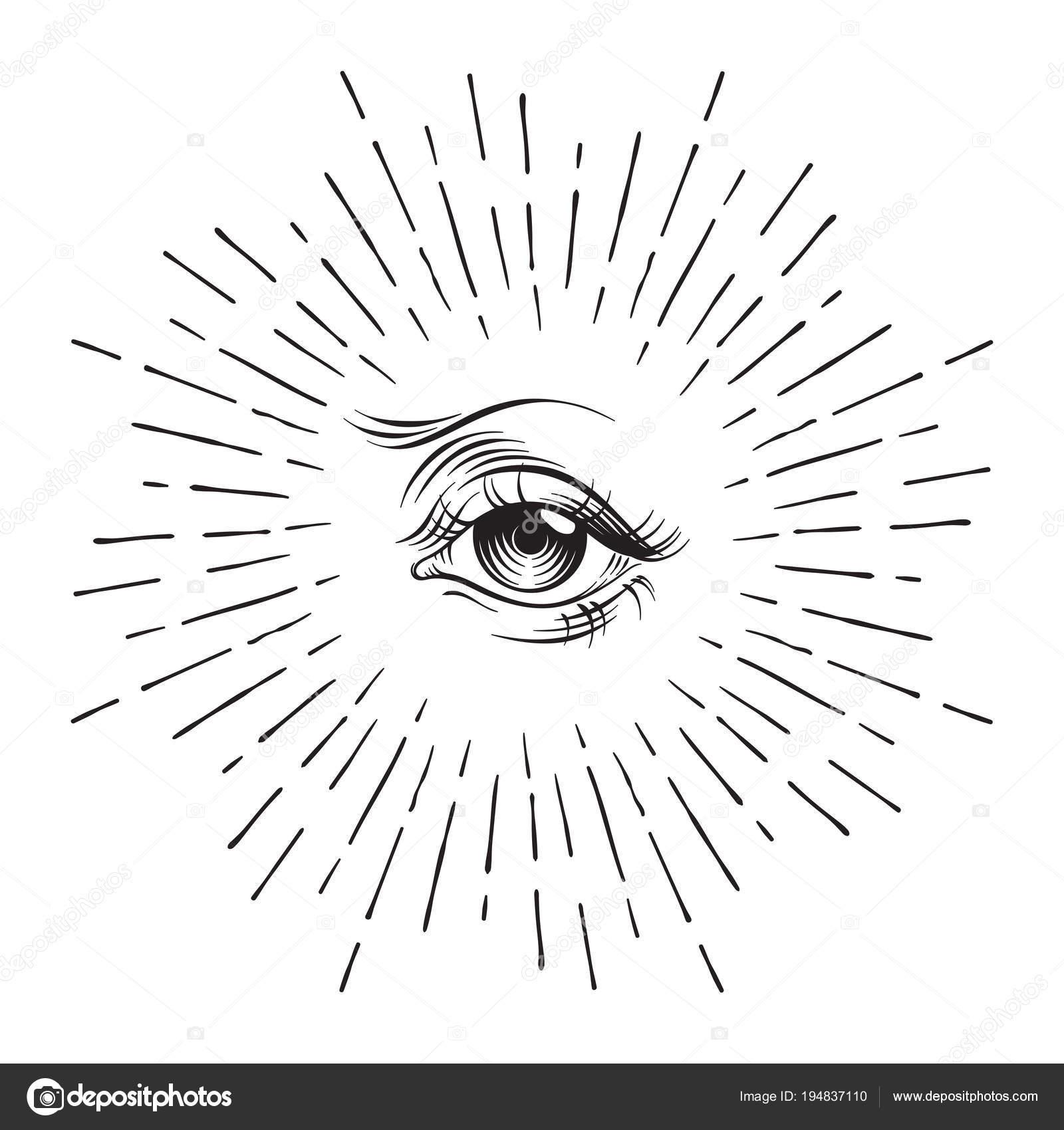 Hand Drawn Eye Of Providence Masonic Symbol All Seeing Eye