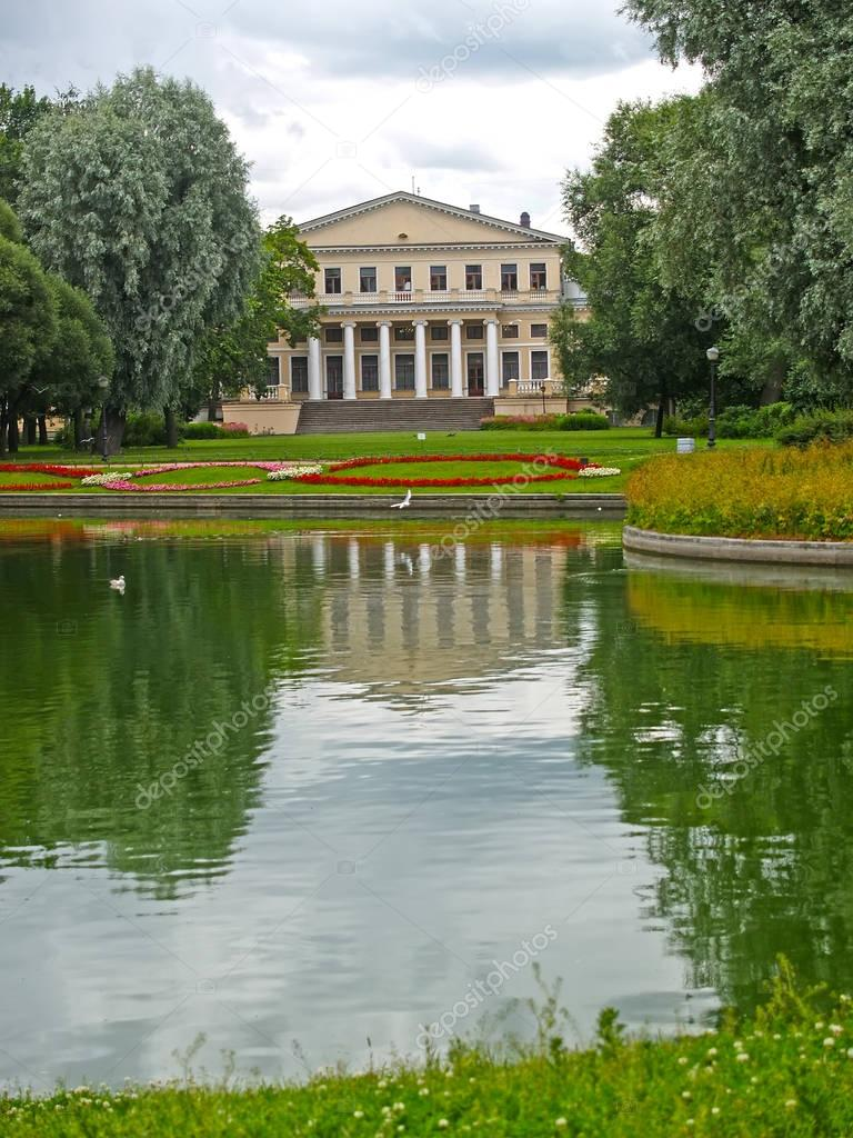 View of a pond and case of University of engineers of means of c communication. St. Petersburg