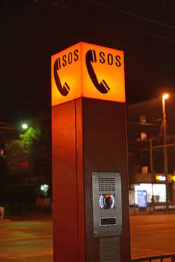 Point of the emergency communication at night. Kaliningrad. Russian text