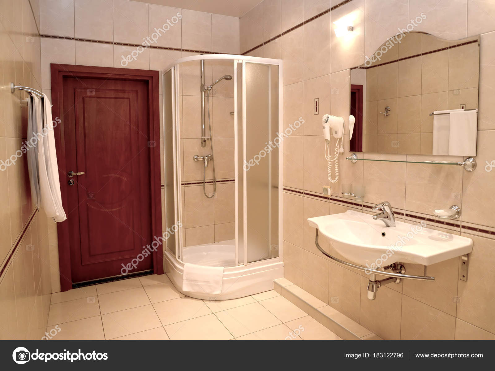 Bathroom with a shower booth and a sink in beige tones — Stock Photo on vintage booth designs, wedding booth designs, restaurant booth designs, water booth designs, phone booth designs, school booth designs,