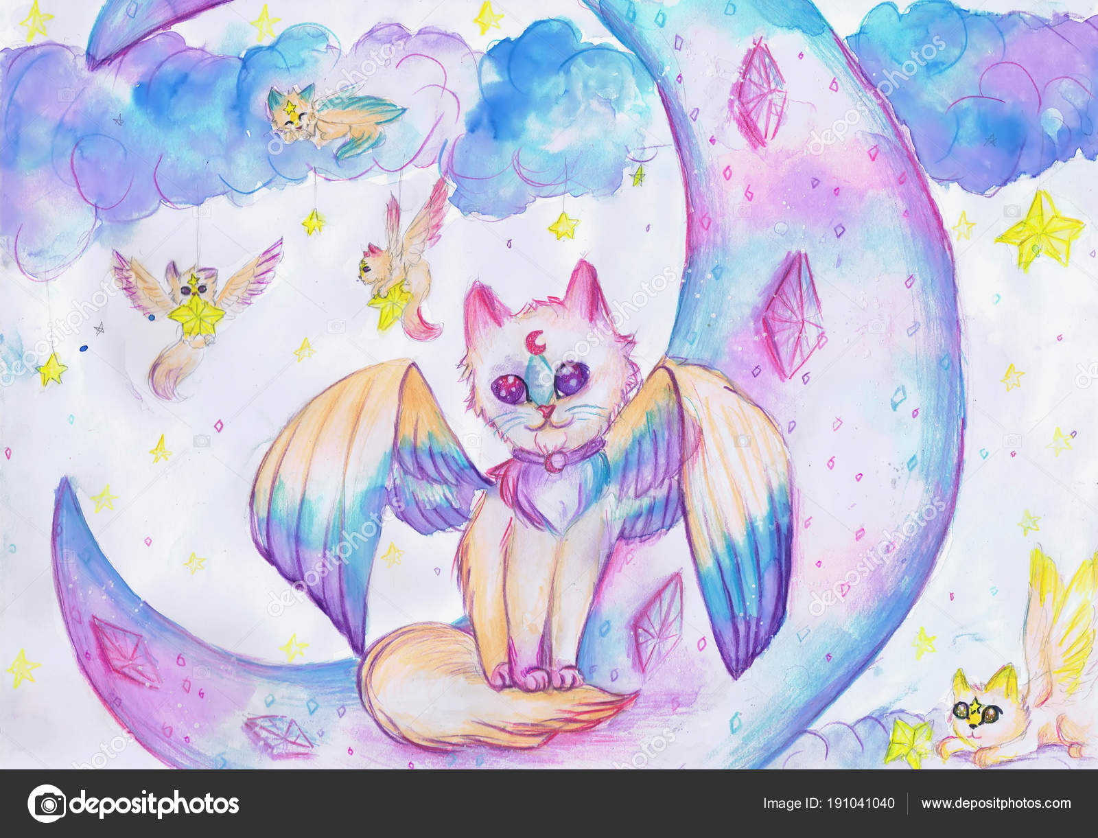 The cat with wings sits on the moon. Children's drawing — Stock Photo