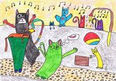 Color cats have fun in the yard. Childrens drawing