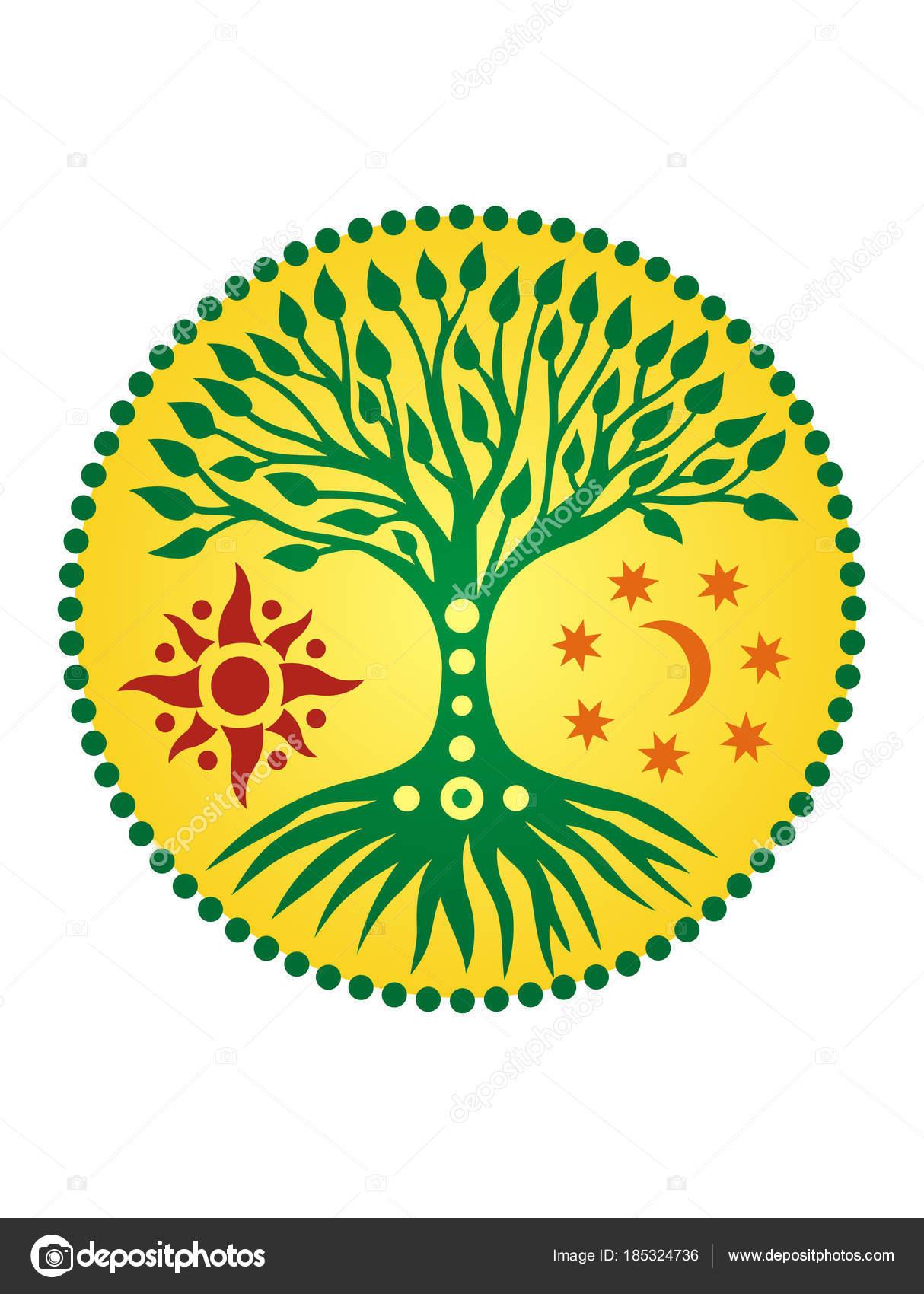 árbol Vida Círculo Solar Mandala Símbolo Vida Crecimiento Desarrollo
