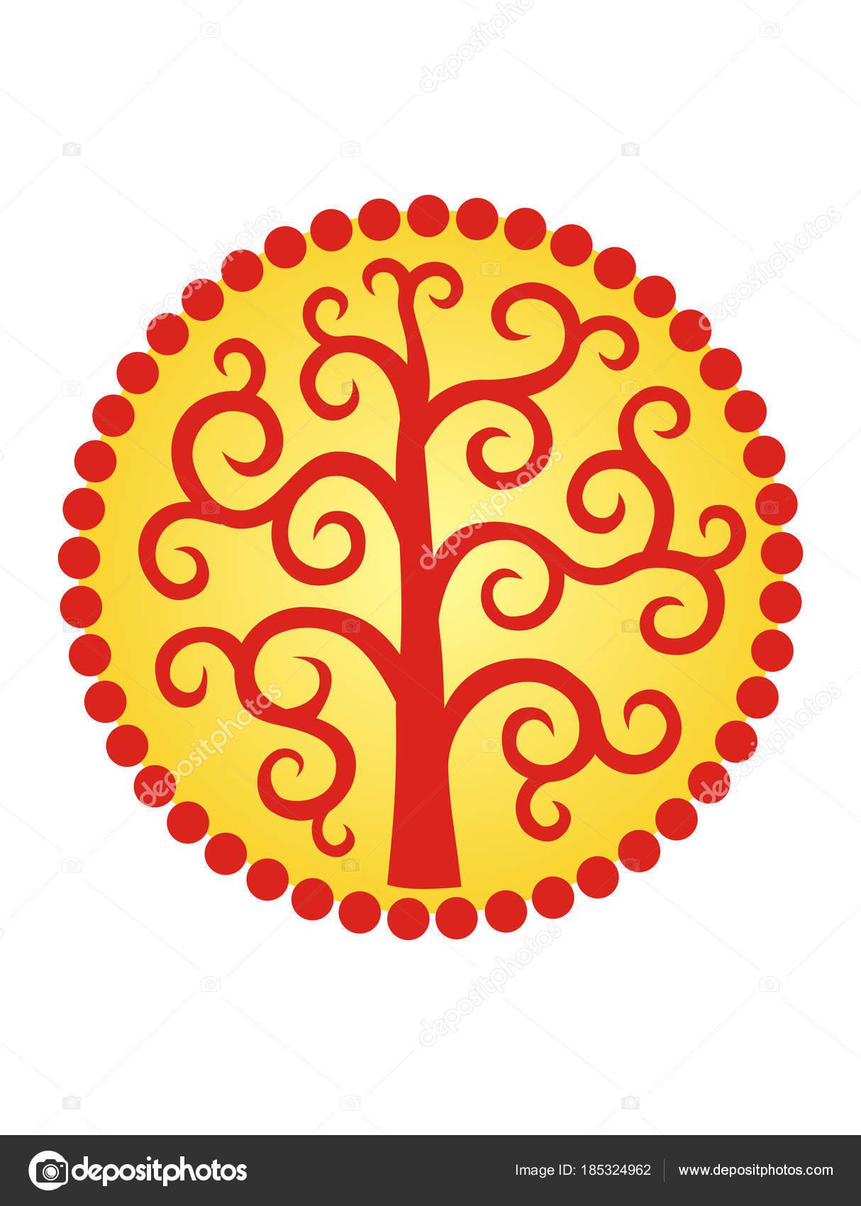 árbol Vida Círculo Solar Mandala Logotipo Símbolo Estabilidad