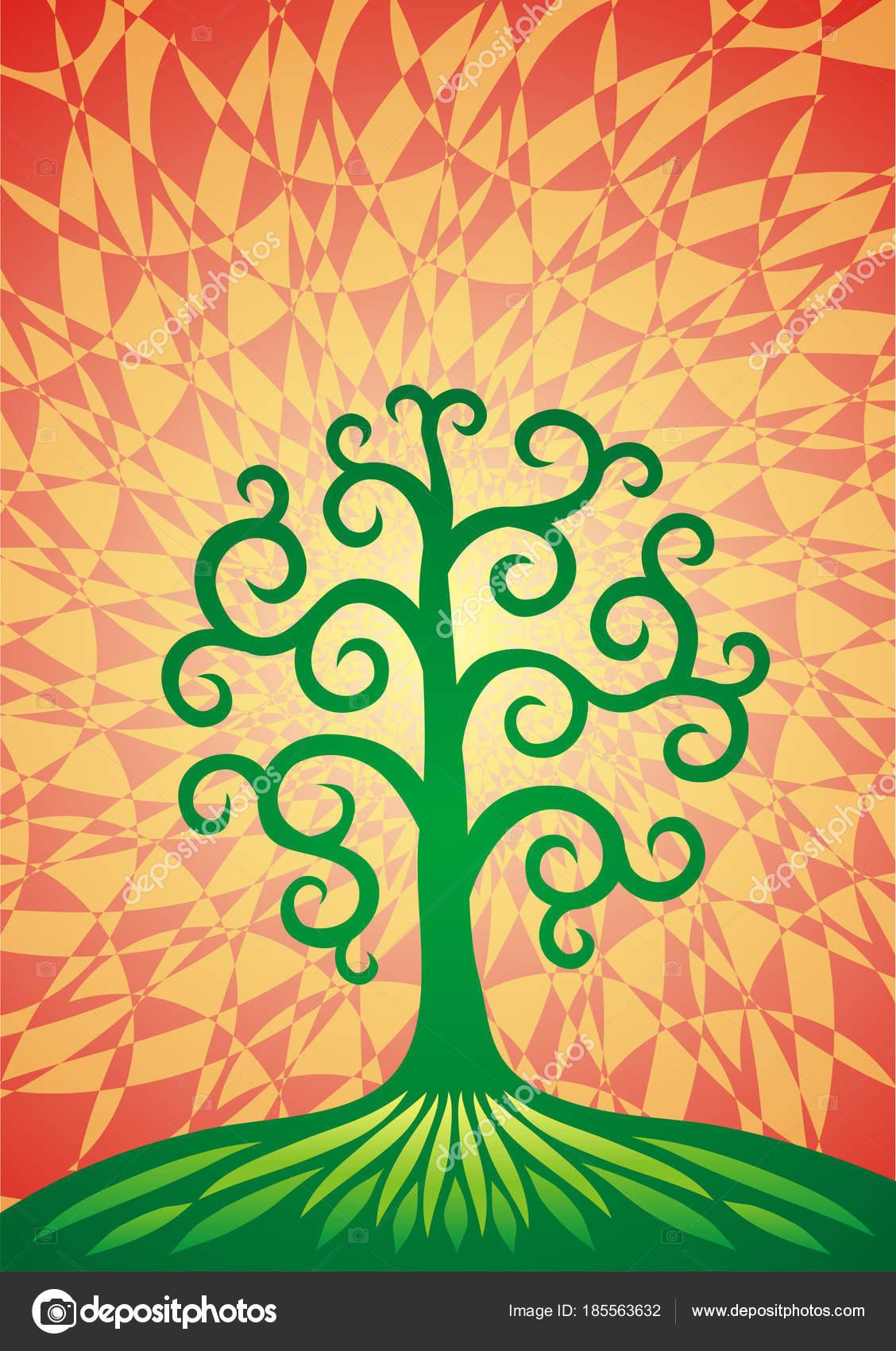 tree life green hill formula universe vector graphics stock vector