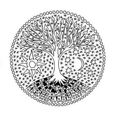 Tree of life in the circle. Mandala. Sun and Moon. Black and white. Pixel art manual graphics.