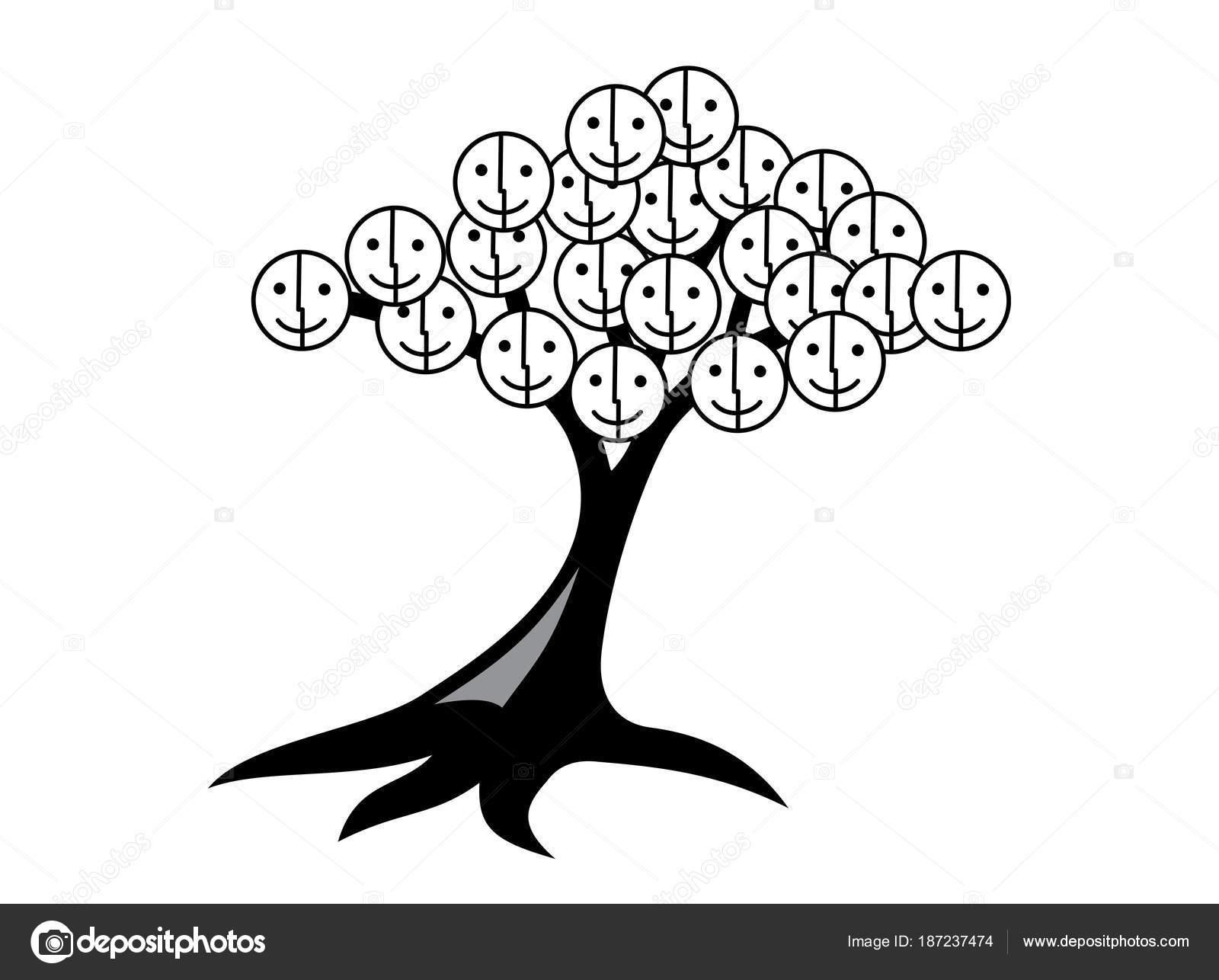 Arbol De La Vida Blanco Y Negro árbol De Sonrisas Y Alegría árbol