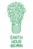 Fényképek Föld órája. 60 perc ki fényt. Lámpa zöld levelek. Ökológia és környezet-védelem