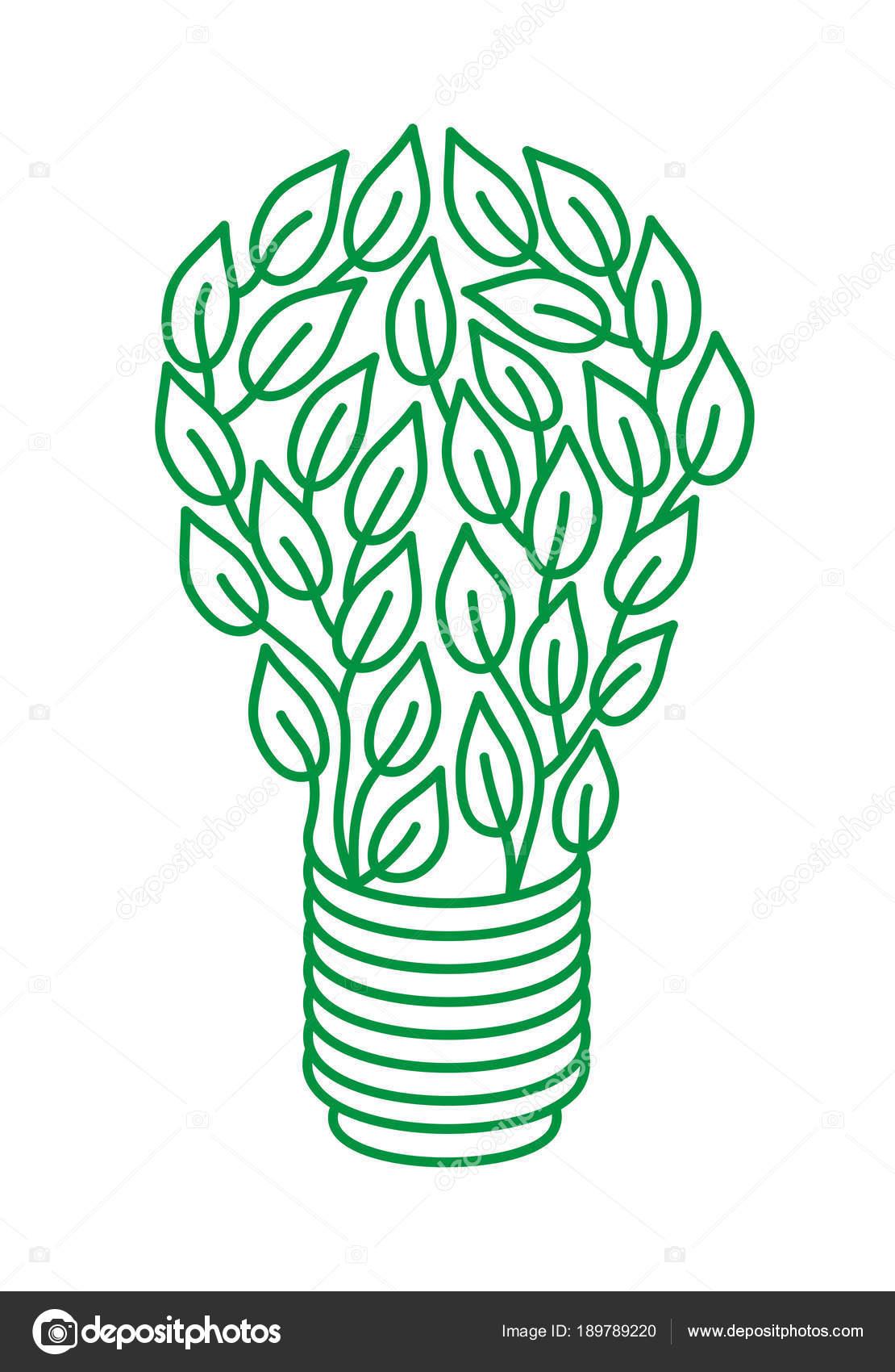 Lámpara Hojas Verdes Sobre Fondo Blanco Metáfora Energía Verde Día ...