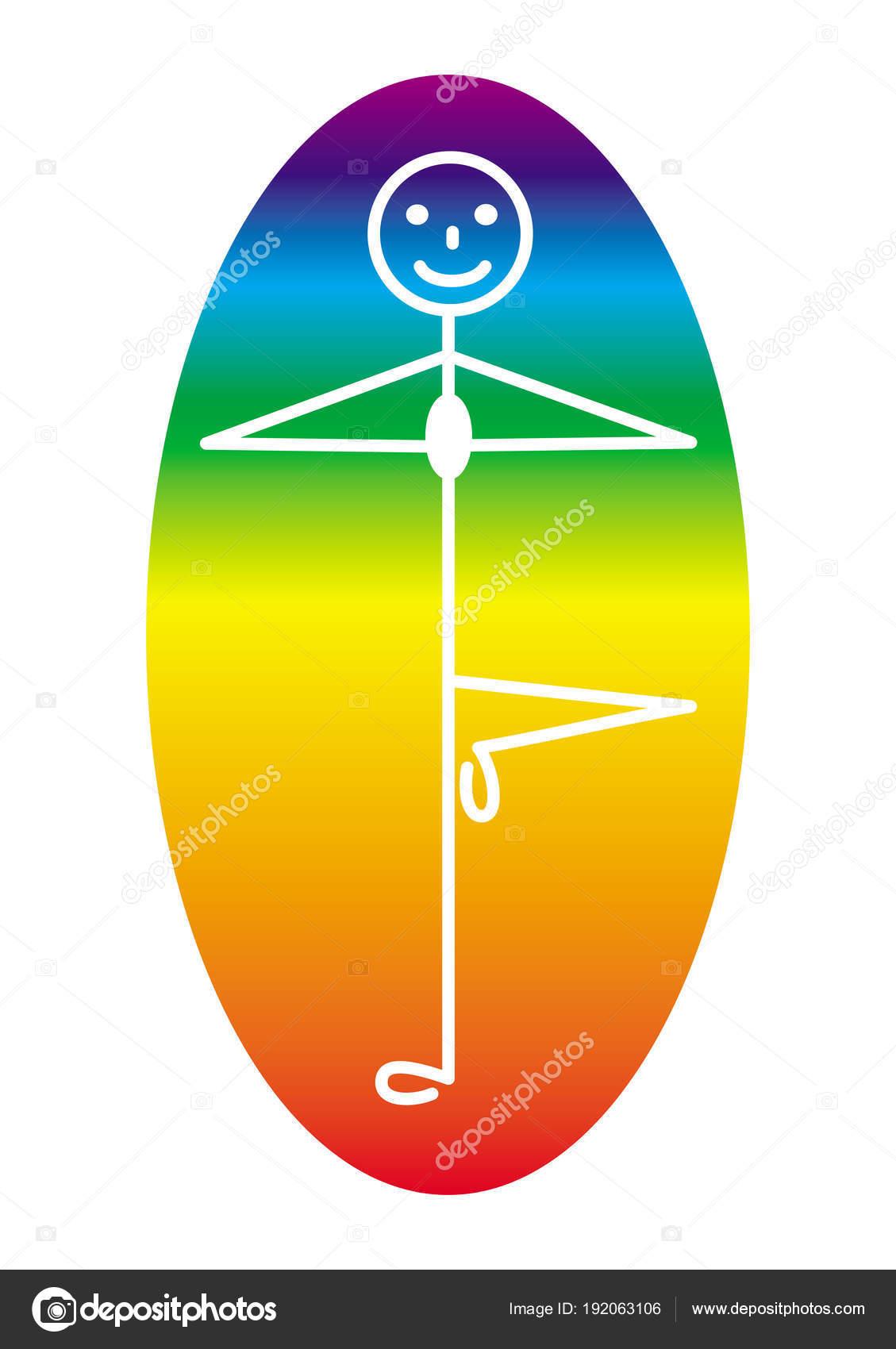 Ein Mann Yogi in der Pose eines Baumes in der Mitte eine Regenbogen ...