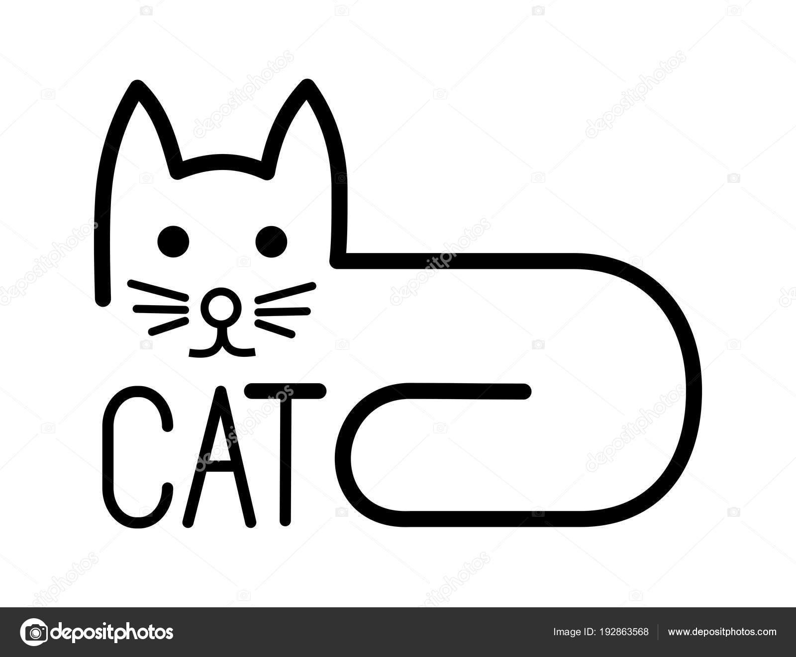 Disegno Stilizzato Di Un Gatto Con Una Sola Riga Bianco E Nero
