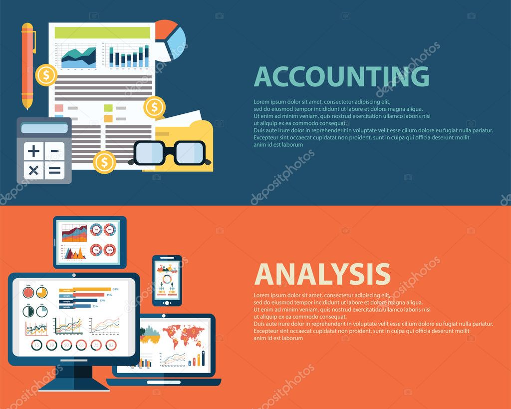 Flache Analyse Infographik Businesskonzepte und Rechnungswesen ...
