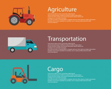 Cargo truck, forklift and tractor