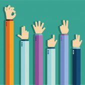 Colorful up hands banner