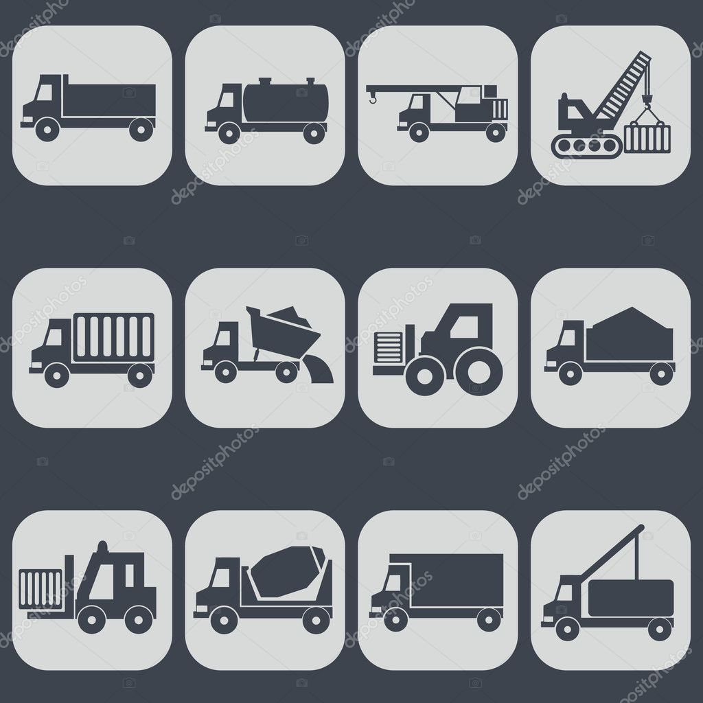 Construction Machinery Icons Stock Vector C Royalty 126054070