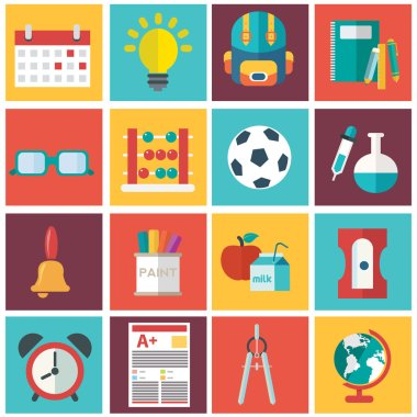 School icons set, vector illustration stock vector
