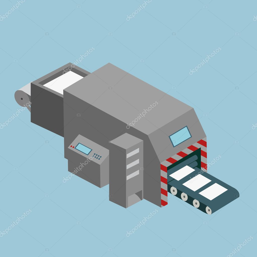 Printing machine isometric icon