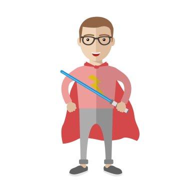 Geek superhero boy icon