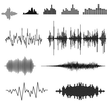 Sound waves and musical pulse, vector illustation stock vector