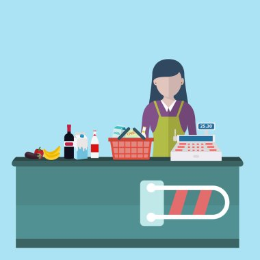 Cashier woman standing in supermarket
