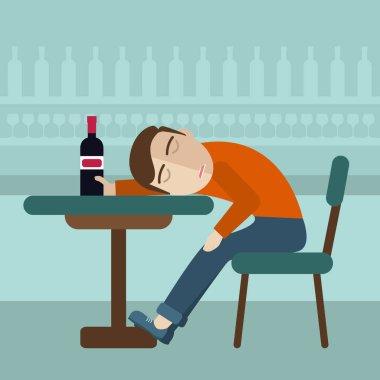 Drunk man fall asleep