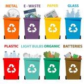 Fotografia cestini dei rifiuti colorato