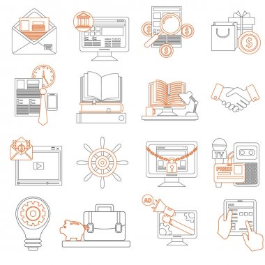 flat business and finance icons