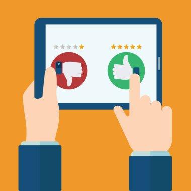 Rating on customer service illustration