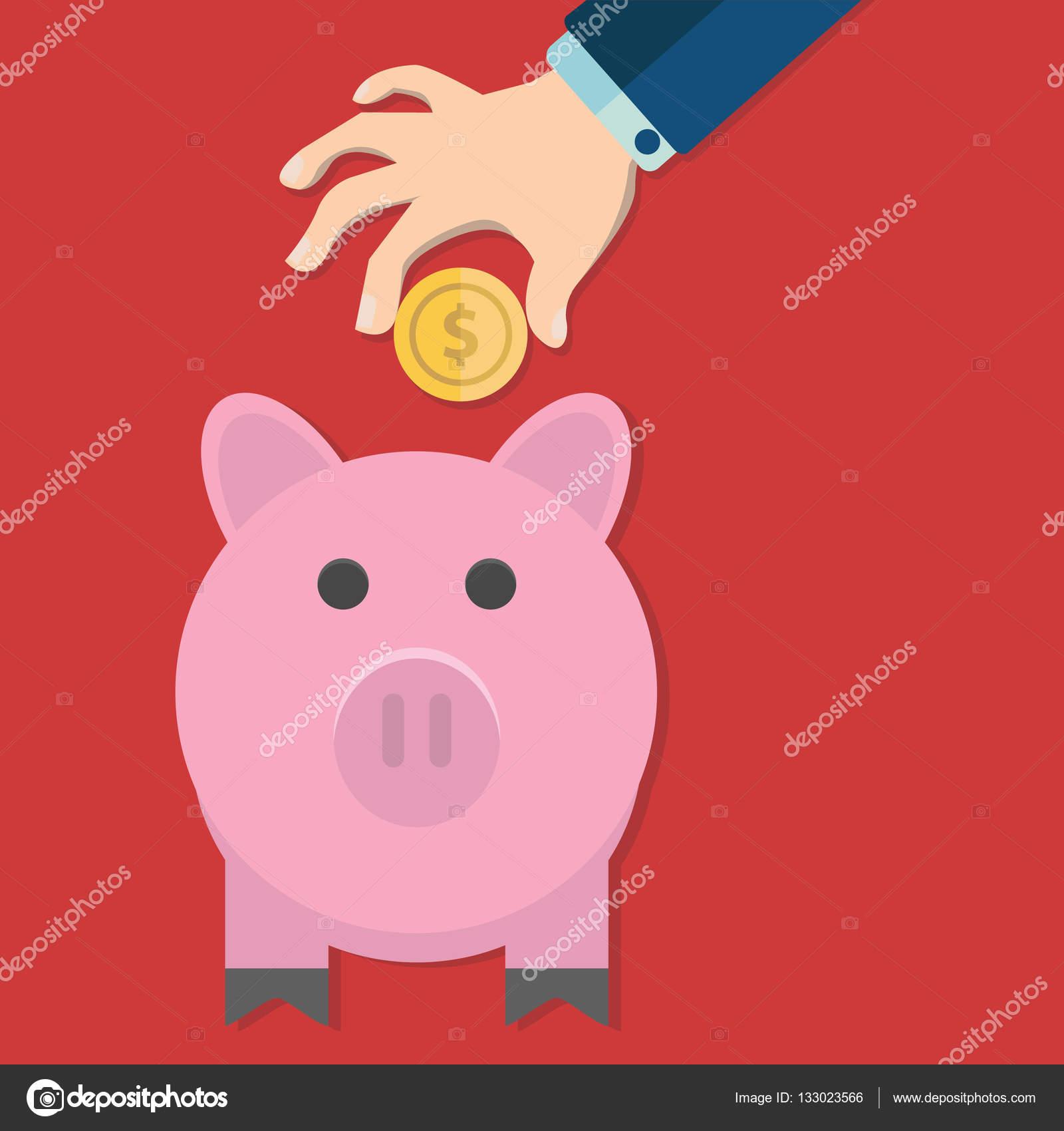 hand putting coin into a piggy bank  u2014 stock vector