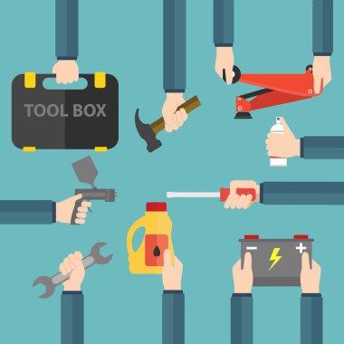 Car service and repairing tools