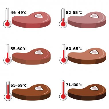 Steak Degree of Doneness with temperature, vector illustration clip art vector