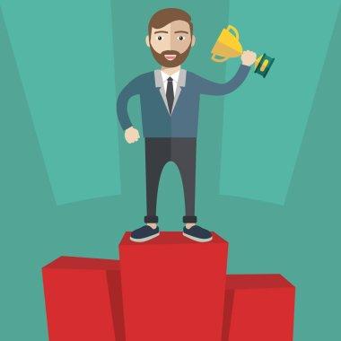 Businessman winner standing