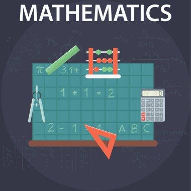 Set of flat design concepts for mathematics